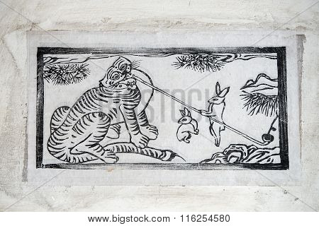 Korea Traditional Painting - Tiger And Bunny