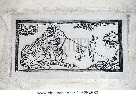Korea Traditional Painting - Tiger And Bunny