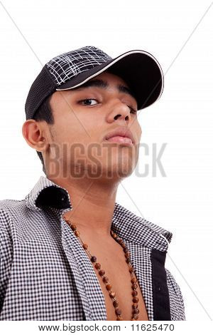 Young And Handsome Latin Man,serious Isolated On White, Studio Shot
