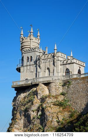 Swallow's nest on top of a cliff. Crimea