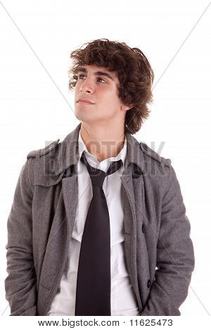 Cute Boy, Looking Up, Isolated On White, Studio Shot