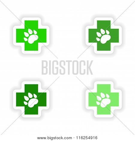 assembly realistic sticker design on paper Veterinary