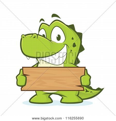 Crocodile or alligator holding a plank of wood