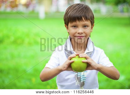 Closeup portrait of beautiful little boy holds green apple on the background of summer park