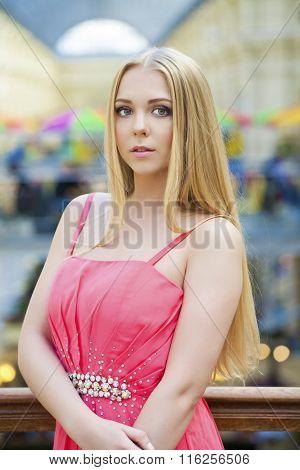 Beauty woman face closeup. Beautiful model blonde girl makeup.