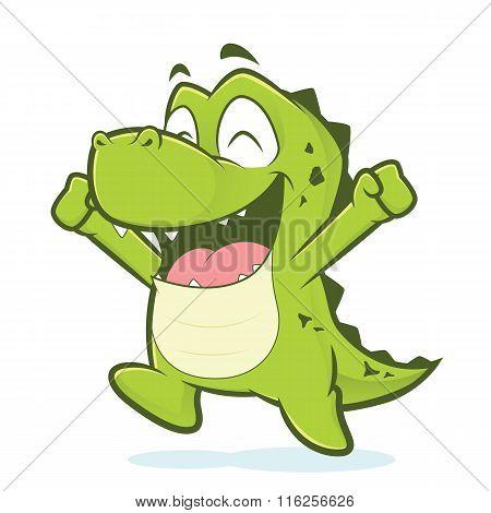 Happy crocodile or alligator jumping