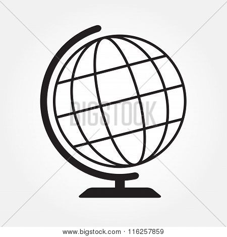 Globe icon. Geography earth globe sign. Vector illustration.