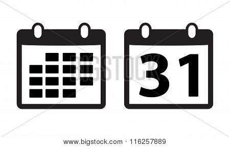 Calendar icon or sign. Vector illustration.