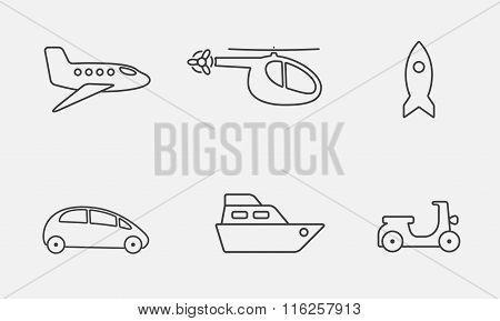 Transport icon set. Vector outline symbols.