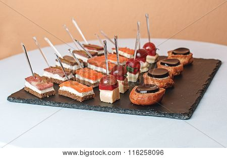 Canapes At The Buffet Table