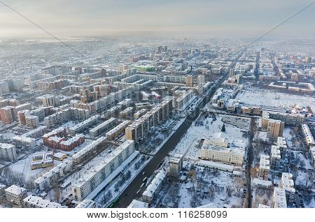 Aerial view on Republic street. Tyumen. Russia