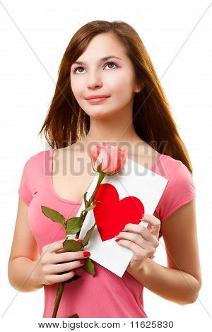 Woman Dreaming With Card And Rose Flower