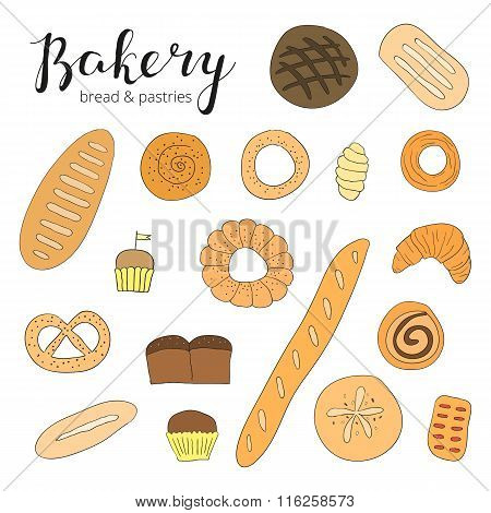 Hand drawn baking bread and pastries.