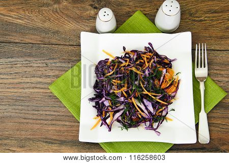 Salad of Red Cabbage, Pumpkins, Peas and Corn