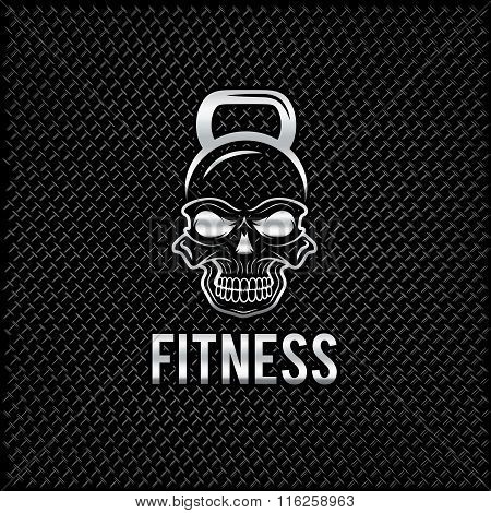 Silver Skull In The Form Of Kettlebell Fitness Concept