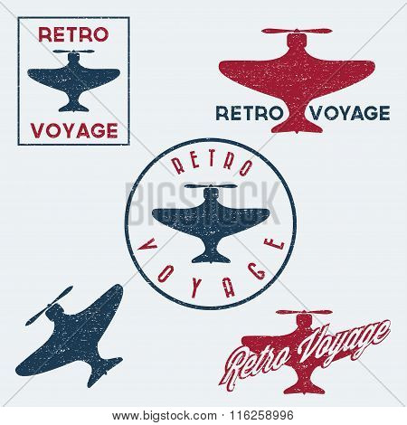 Set Of Vintage Retro Grunge Aeronautics Flight Badges And Labels