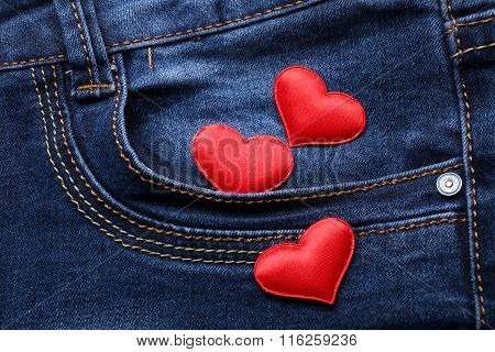 Red Hearts On Jeans Backround, Close-up