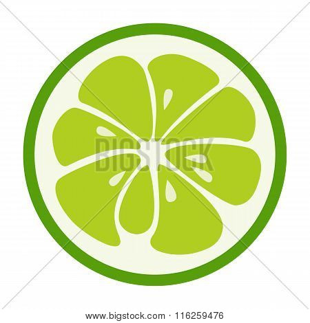 Green lime stylish icon. Juicy fruit logo
