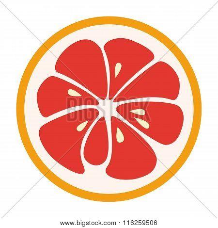 Red grapefruit stylish  icon. Juicy fruit logo