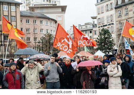 Protesters Gathered At Kleber Square Protesting Government's Plan Of The Extension Of The 'state Of