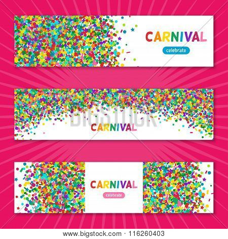Colorful carnival confetti horizontal banners