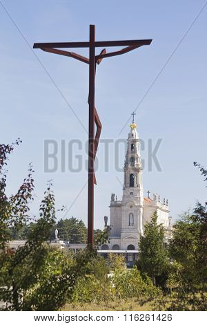 Sanctuary Of Fatima, Famous Religious Place In The Center Of Portugal
