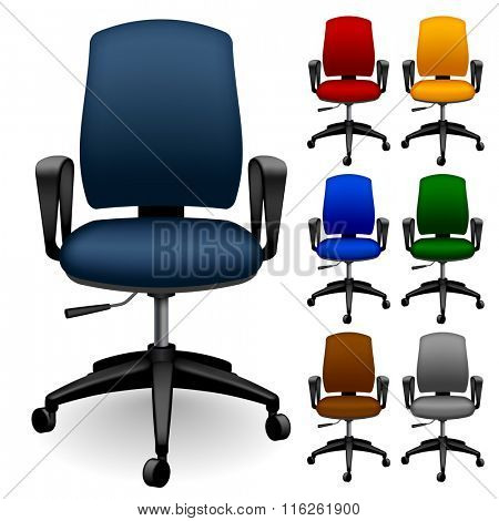 Set of office chairs of different color. Contain the Clipping Path