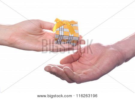 Little Gift Box In Hands Isolated On White