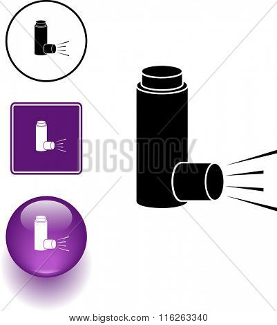 medicine inhaler symbol sign and button