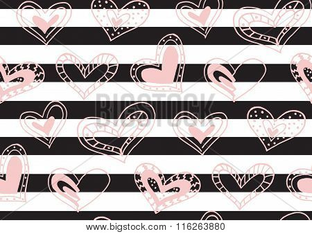 Seamless pattern with the hand drawn ink doodle hearts, stripes.