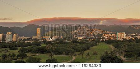 East Honolulu Skyline at sunset
