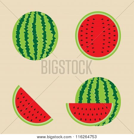 Watermelon set. Vector illustration.