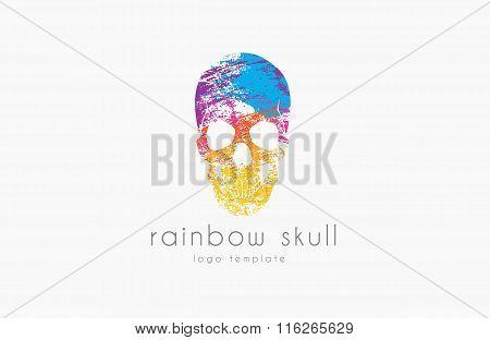 Skull. Rainbow skull. Skull logo. Colorful logo. Creative skull logo