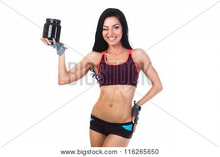 Woman With Healthy Diet Protein Bank For Sport And Fitness