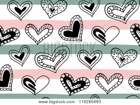 Seamless Pattern With Hand Drawn Ink Doodle Hearts, Stripes.