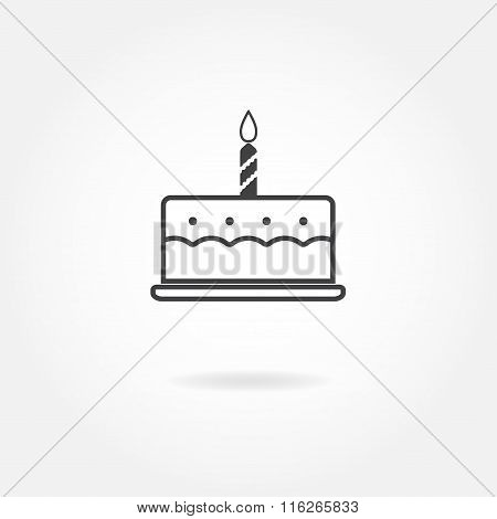 Birthday cake icon or sign. Vector illustration.