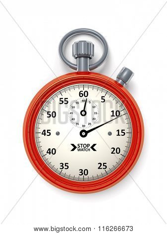 An image of a red typical stopwatch