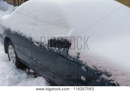 Car covered by ice