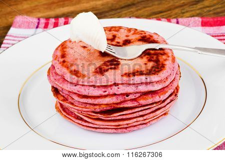 Pancake with Beets. Diet Food