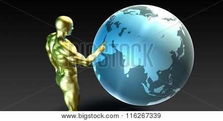 Businessman Pointing at Middle East or Arab States Concept