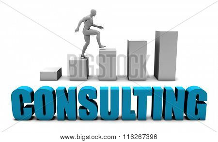 Consulting 3D Concept  in Blue with Bar Chart Graph