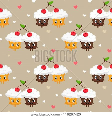 Romantic Vector Seamless Pattern With Cute Pair Of Cupcakes Sharing Cherry And Hearts, St. Valentine