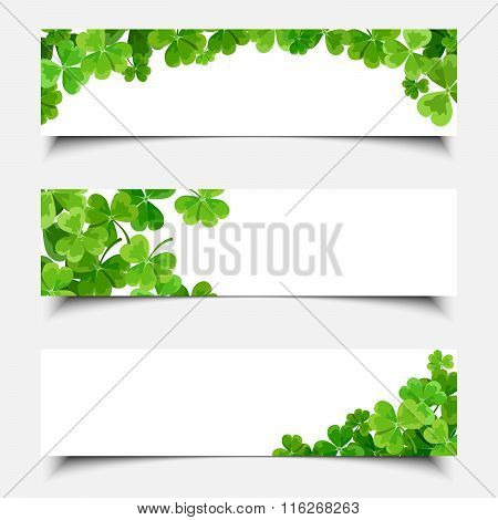 St. Patrick's day web banners with shamrock. Vector eps-10.