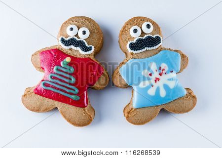 Funny Gingerbread Cookie On A White Background