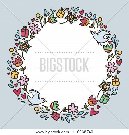 Romantic Round Frame With Flowers, Hearts, Gifts And Birds Isolated On White, Valentine's Day Greeti