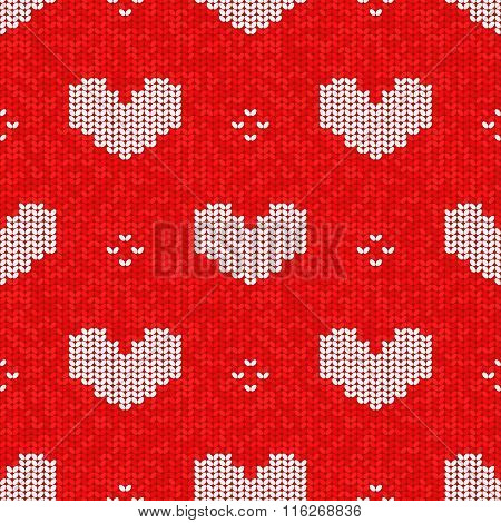 Vector Knitted Seamless Pattern, Valentine's Day Style Knitting Craft Background With Hearts