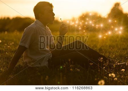 Boy Blowing A Dandelion At Sunset