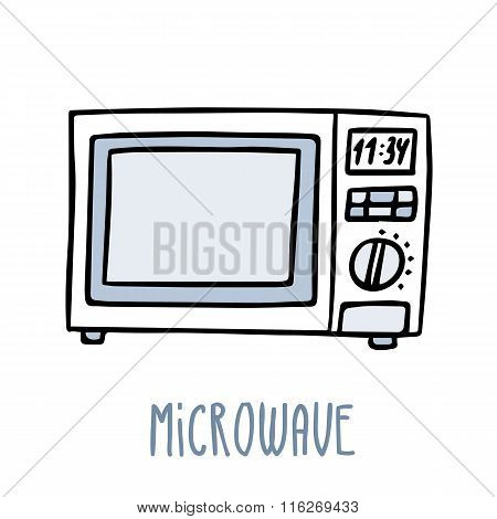 Microwave Oven Cute Vector Doodle Sketch Isolated On White