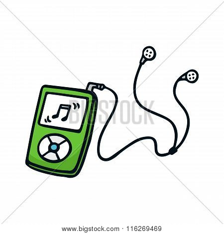 Mp3 Player Cute Doodle Sketch Illustration Isolated On White