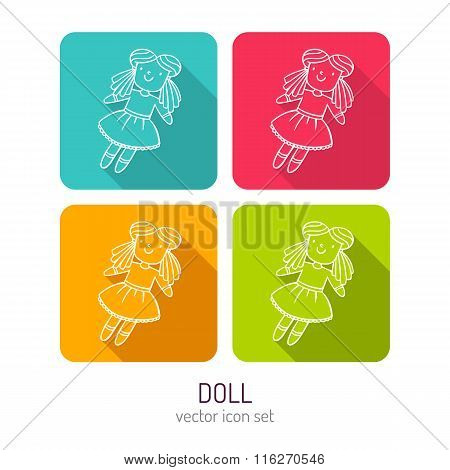 Vector Line Art Doll Icon Set In Four Color Variations With Long Shadows